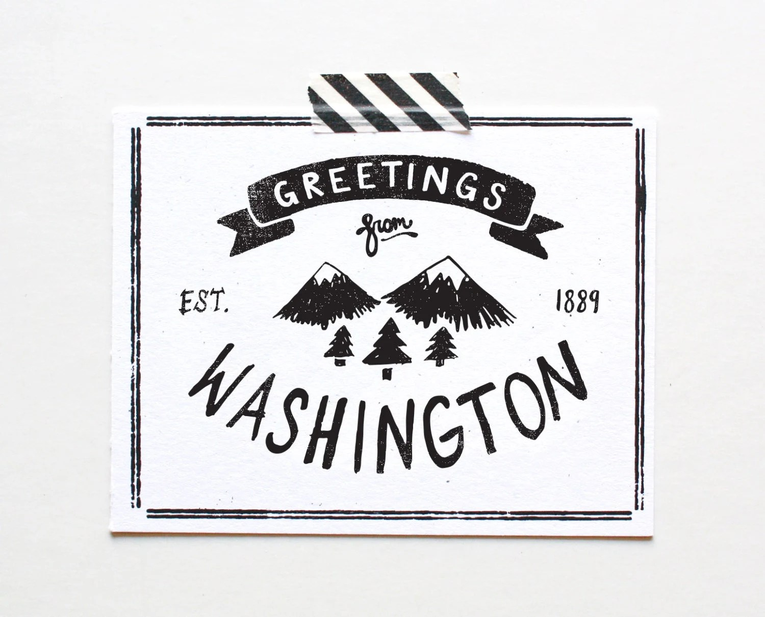 State of Washington Postcard Screenprinted