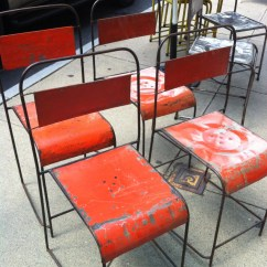 Orange Cafe Chairs Indoor Hanging Bubble Chair Hold Vintage Metal Stacking Industrial Old Paint