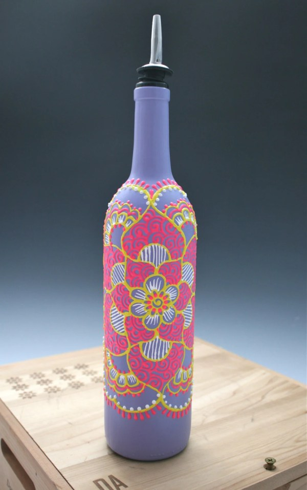 Spring Hand Painted Wine Bottle Olive Oil Pourer Purple