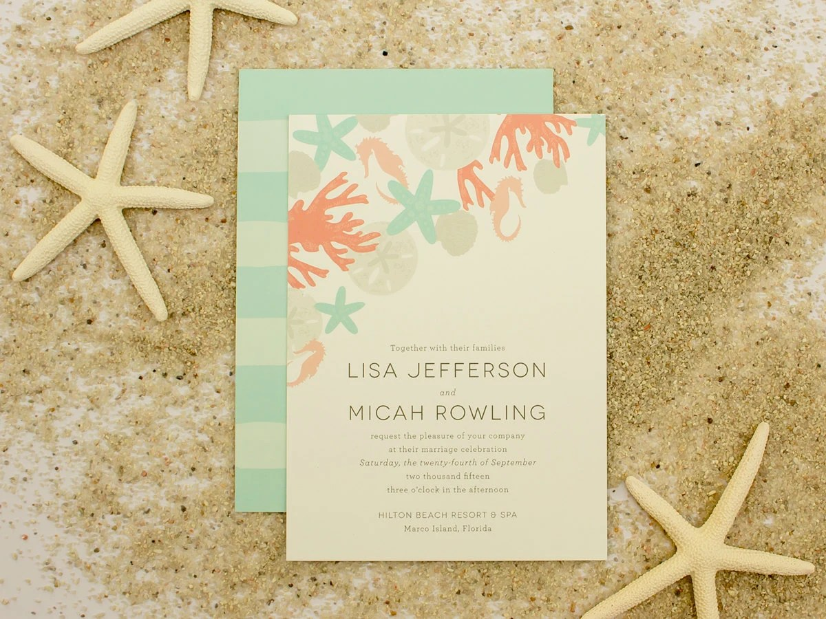 Beach Wedding Invitation Sand Dollar Shells Sea by BanterandCharm