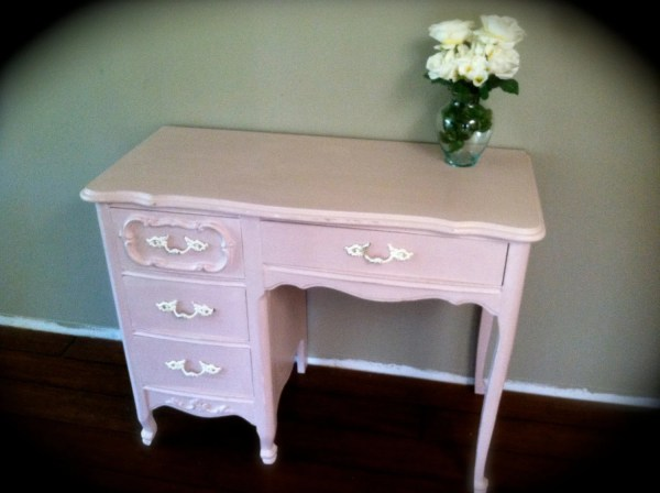 French Provincial Pale Light Pink Desk Vanity Shabby Chic