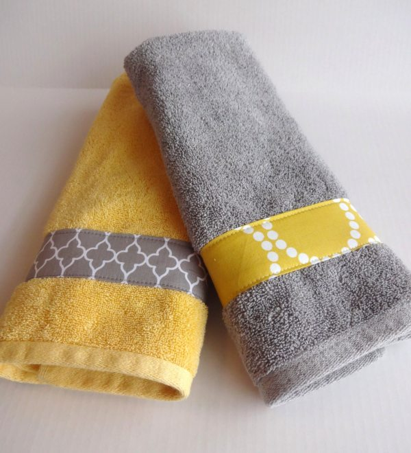 Yellow And Grey Bath Towels Gray