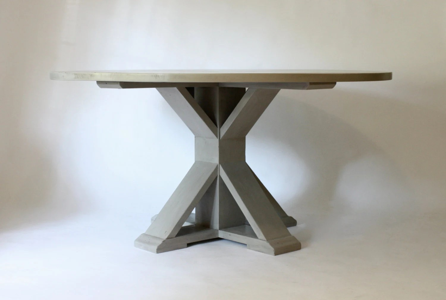 Trestle Round Dining Table 60 By NorthFieldStore On Etsy