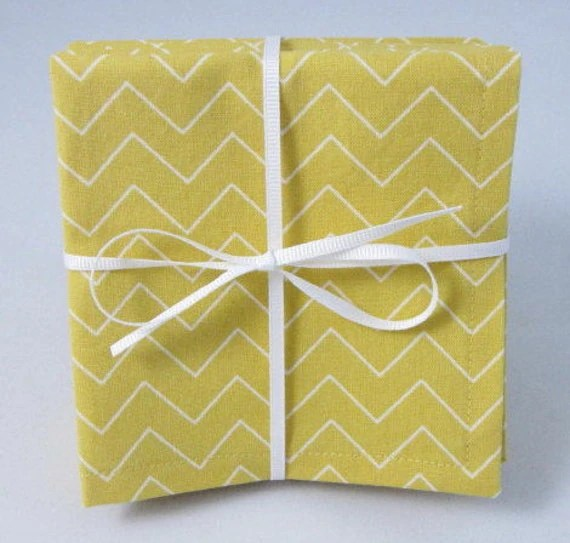 Cloth Beverage Napkins Yellow and White ChevronSet of by