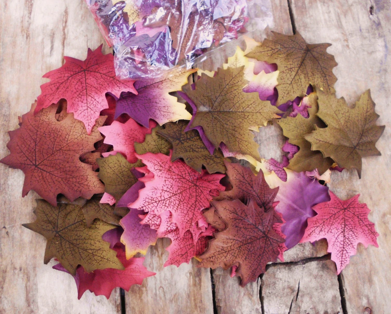 Set Of 139 Maple Fall Silk Leaves Purple Burgandy And Green