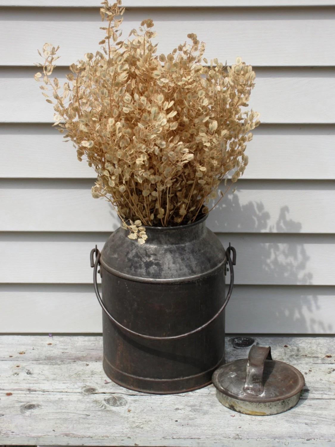 Vintage Galvanized 8 Quart Milk Can Country By Stoneandwares