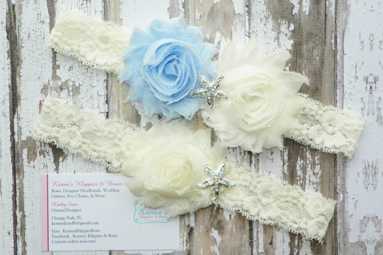 Beach Wedding Garters Blue Wedding Garters Starfish Garter