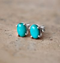 Tiny Turquoise Stud Earrings Sterling Silver