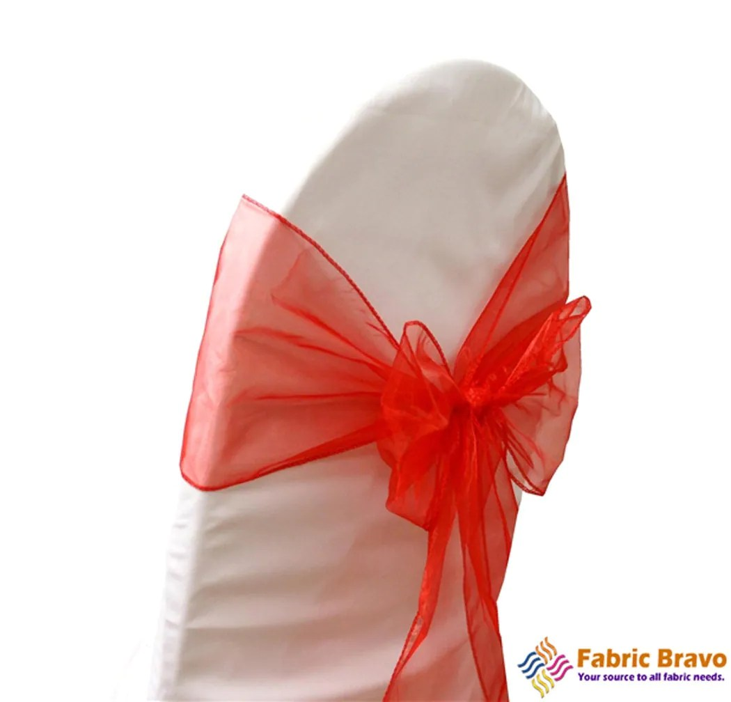 wedding chair covers with bows folding beds foam 2 coral organza sash for weddings parties banquets