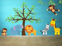 Jungle Wall Decals Jungle Animal Decals Kids Room Decals