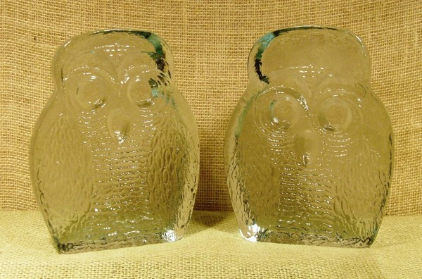Mid-century Blenko Glass Owl Bookends
