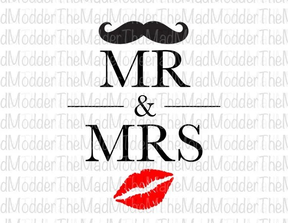 Items similar to Mr  Mrs Moustache and Lips Text Words