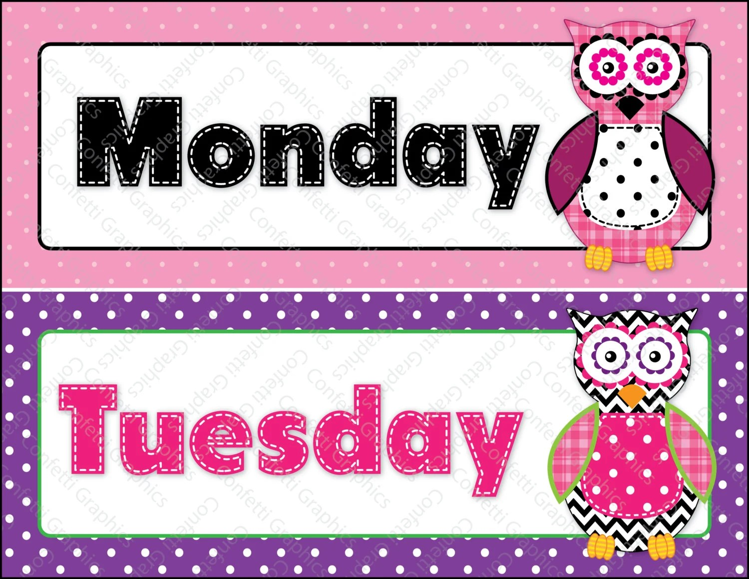 Days Of The Week Calendar Cards Owl Polka Dot By