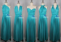 Weddings Wrap Infinity Convertible Dress Full Length Turquoise