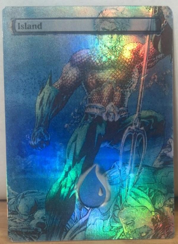 Foil Mtg Island Altered Art Aquaman Green Lantern Justice