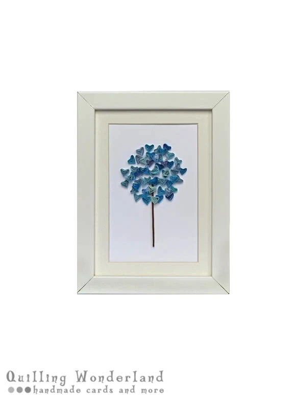 Blue azure Winter tree picture - paper quilling, home decor, nursery art