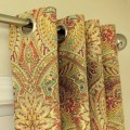 Grommet top curtains in waverly swept away berry paisley print