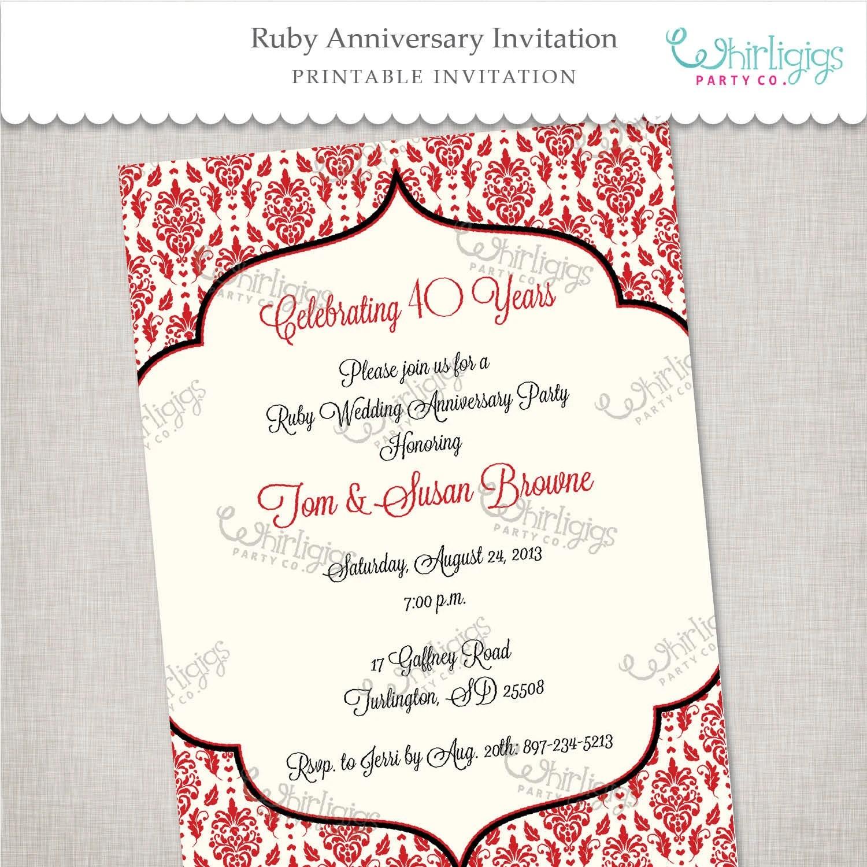 Printable Invitations 40th