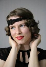 black headband flapper 1920s style