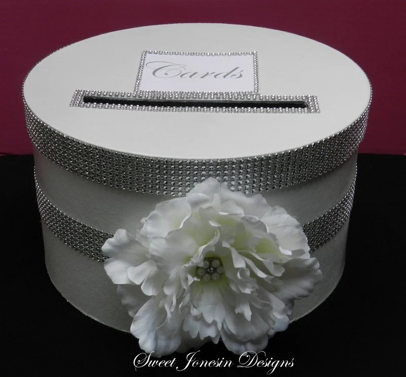 White Bling Wedding Card Box with Diamond Mesh Ribbon Accents