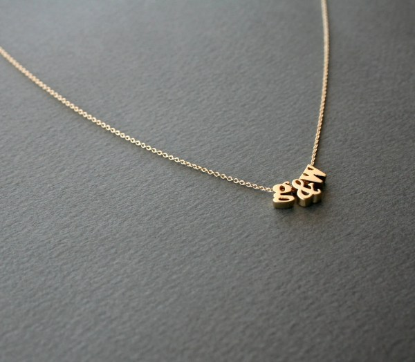 Gold Initial Necklace 3 Lowercase Letter Studiogoods