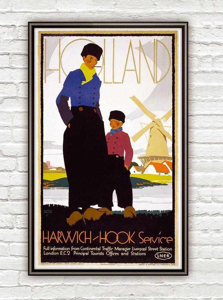 Vintage Poster of Holland Netherlands 1920 Tourism poster travel - OldCityPrints