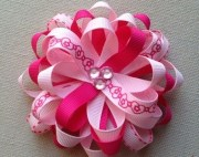 valentines hair bow pink