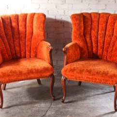 Antique Accent Chair Beach With Cup Holder Pair Vintage Orange Floral