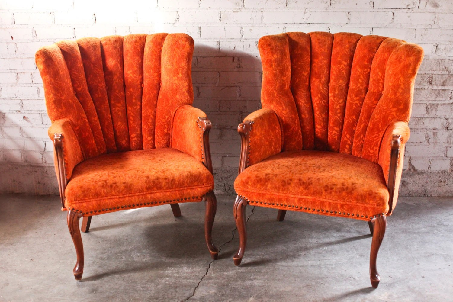 Floral Chairs Pair Vintage Antique Orange Floral Accent Chair