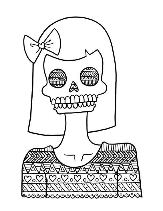 Instant Download Tribal Pattern Skull Girl by AngelSzafranko