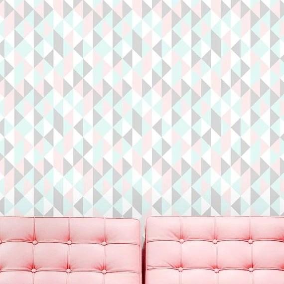 Papier peint amovible temporaire vinyle auto-adhésif, décalque de mur - kaléidoscope de la couverture de Triangle de Pastel - 068
