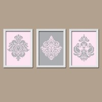 Pink Gray Wall Art Damask Wall Art Pink Gray Nursery by ...