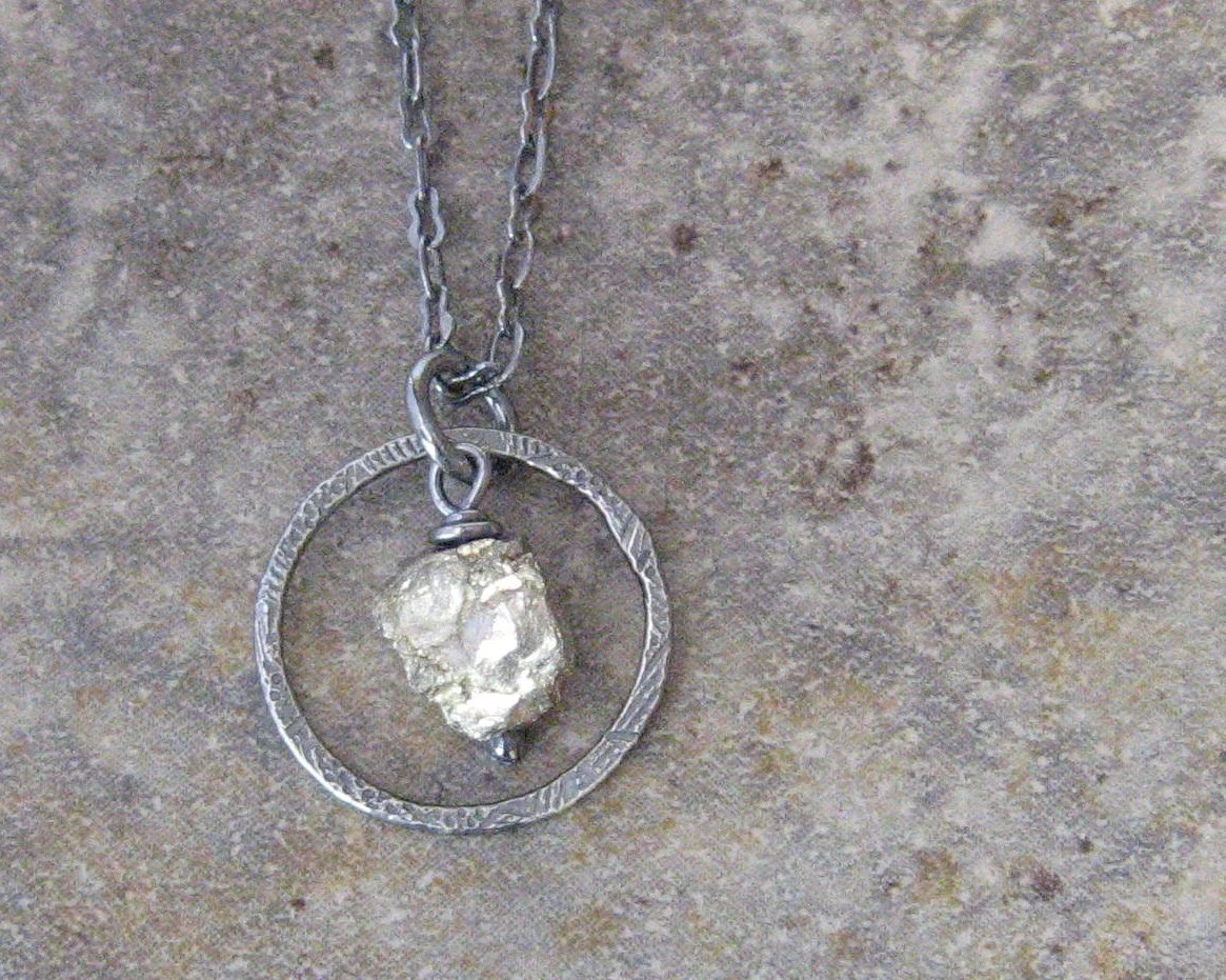 pyrite and silver pendant necklace, rustic oxidized necklace - theBeadAerie