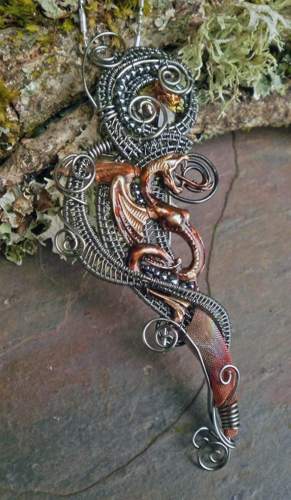 Gothic Steampunk Dragon Pin Pendant Brooch