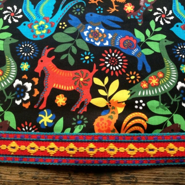 Mexican Otomi Style Tablecloth Vintage Trim Black Red Yellow