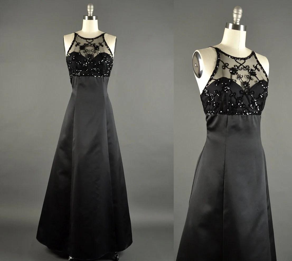 1980s Prom Dress  black satin sequin dress  80s Dress
