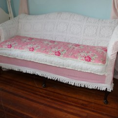 Rose Sofa Slipcover Loveseat Plastic Covers Shabby Chic Couch Chenille By