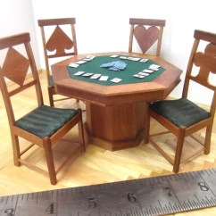 Poker Table With Chairs Oversized Outdoor Chair Miniature And Set