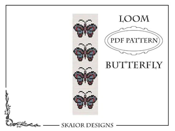 Items similar to Loom Bead Pattern Bracelet Butterfly