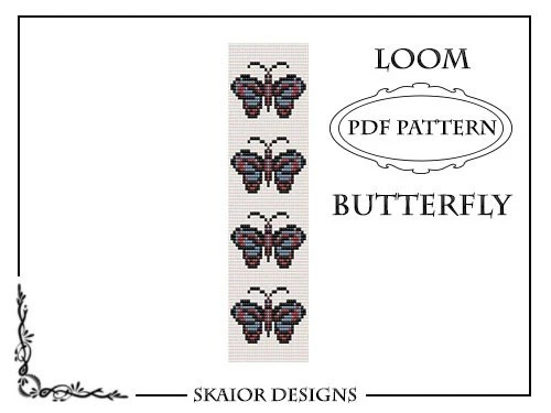 Loom Bead Pattern Bracelet Butterfly Bracelet Square by skaior