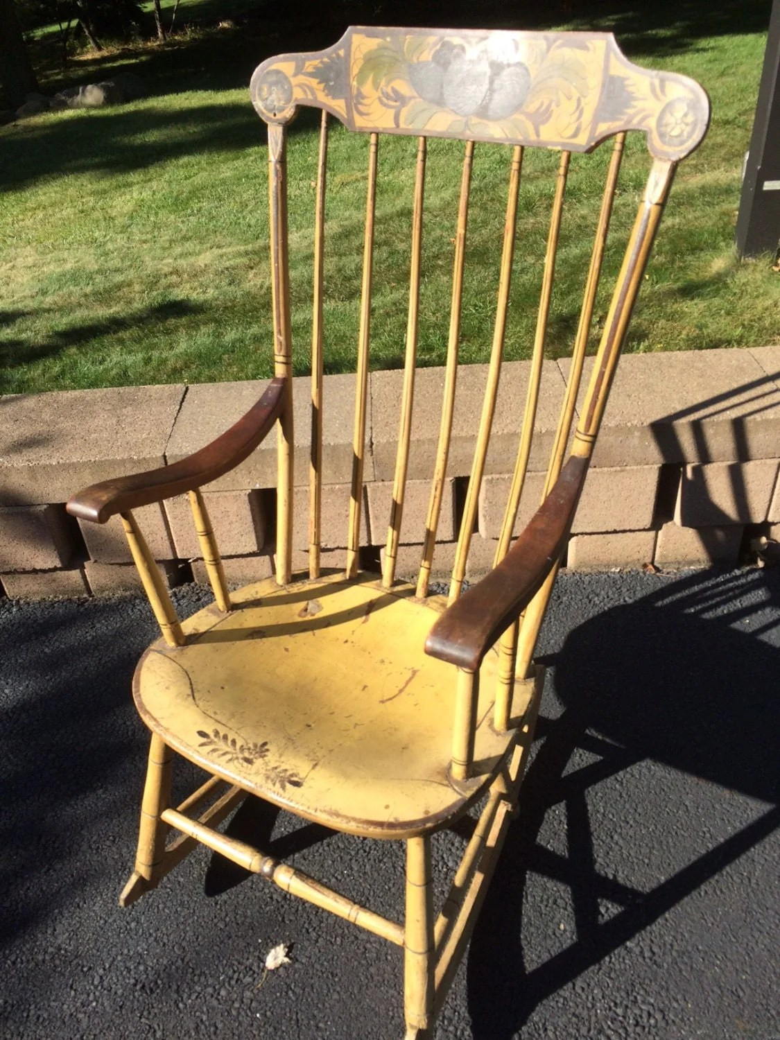 newport rocking chair cream leather occasional chairs antique wooden colonial painted local pick up