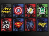 Set of 2 prints Superhero Wall Art Decor Superman Batman