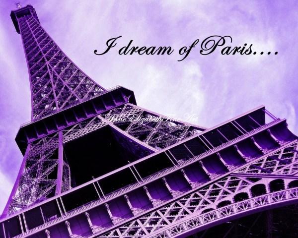 Purple Eiffel Tower Paris
