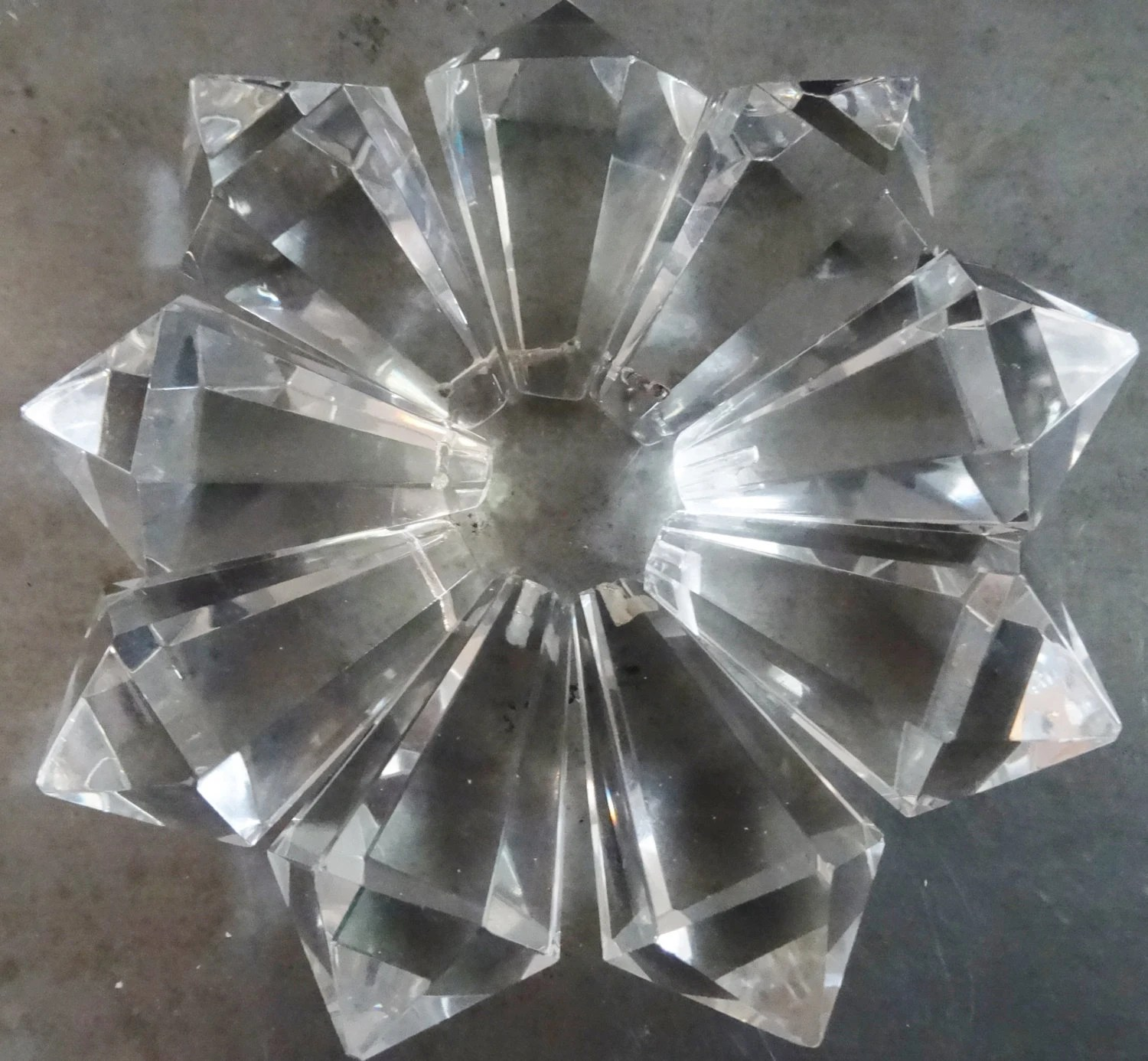 9 Crystal Prism Drop Cone Chandelier Lamp Pieces From