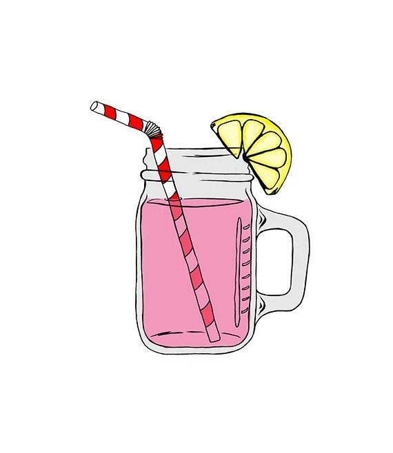 mason jar pink lemonade digital