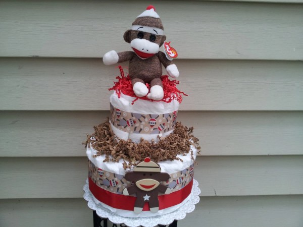 Sock Monkey 2 Tier Diaper Cake
