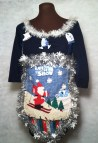 Ugly Christmas Sweater Dress Petite Small Awesome Dark Blue