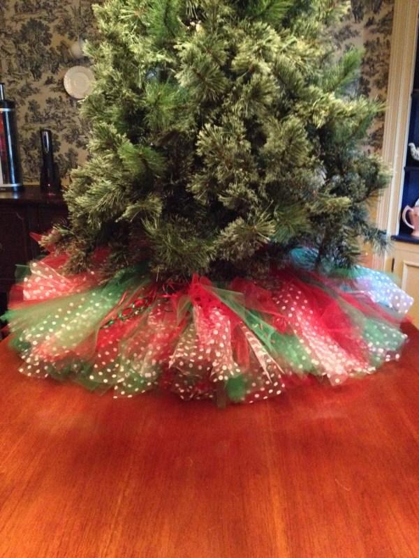 Red Christmas Tree Skirt Tulle Bowsbaublesandbeads