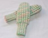 Fancy Knit MIttens - Pastel Green, Pink, Yellow - Kids Large/Womens Small - Grandmasandeze