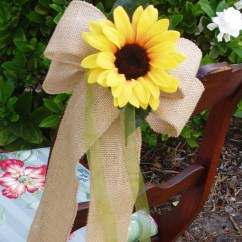 Burlap Bows For Wedding Chairs Tablet Arm Chair And Sunflower Pew Set Of 8 Decoration